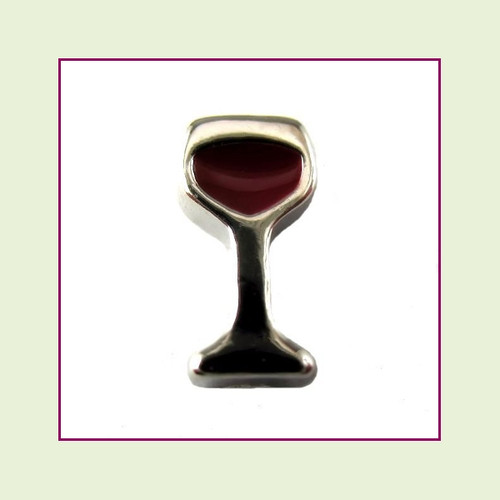 Wine Glass (Silver Base) Floating Charm