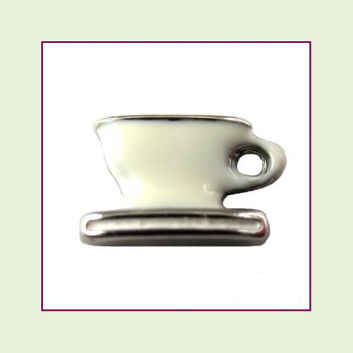 Coffee Cup White (Silver Base) Floating Charm