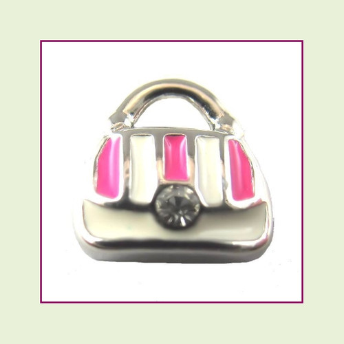 Purse Pink & White (Silver Base) Floating Charm