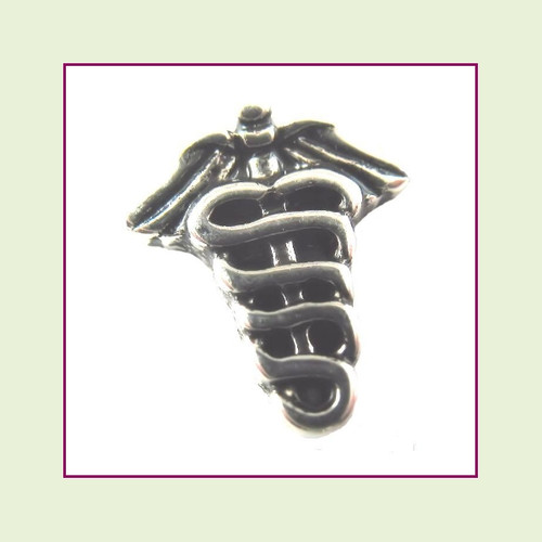 Medical Caduceus (Silver) Floating Charm