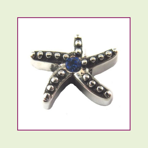 Starfish Silver with Sapphire Crystal Floating Charm
