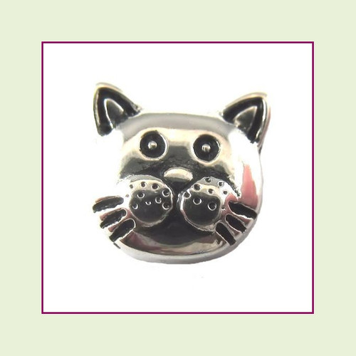 Cat Face Cute Silver Floating Charm