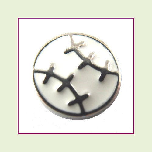 Baseball with Silver Stitches (Silver Base) Floating Charm