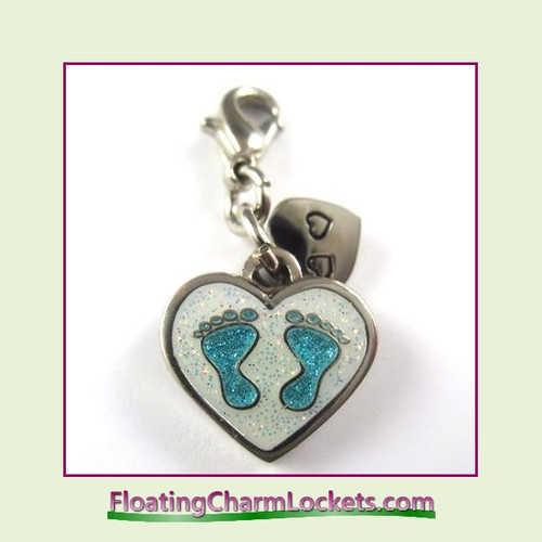 Mini Clip-On Charm:  Baby Feet Blue 14x12mm