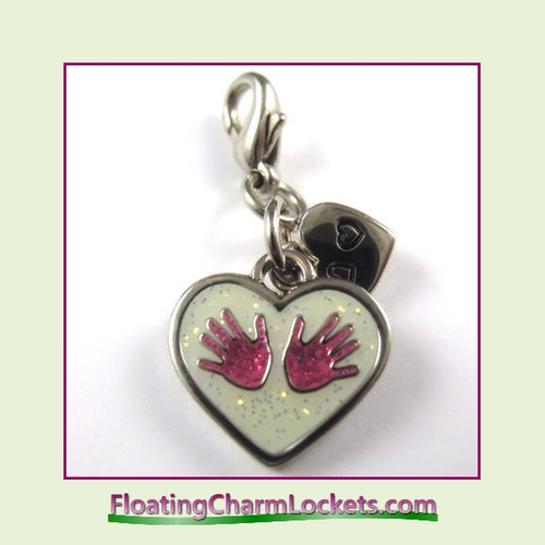 Mini Clip-On Charm:  Baby Hands Pink 14x12mm