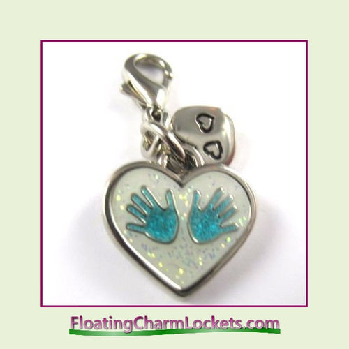 Mini Clip-On Charm:  Baby Hands Blue 14x12mm