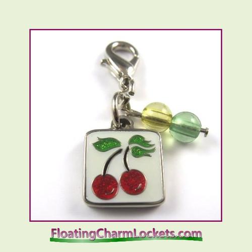 Mini Clip-On Charm:  Cherries 11x11mm