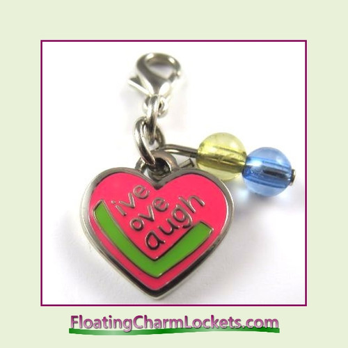 Mini Clip-On Charm:  Live Laugh Love 14x12mm