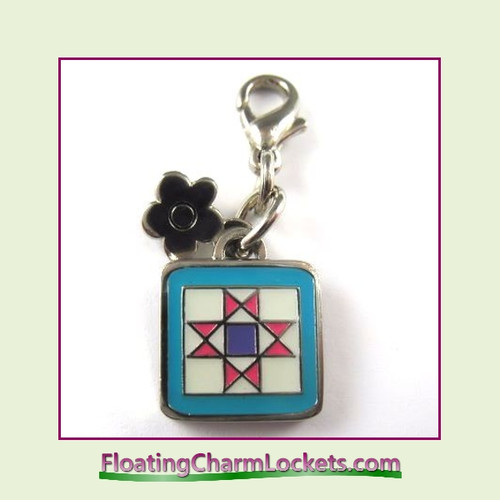Mini Clip-On Charm:  Quilt Block 11x11mm