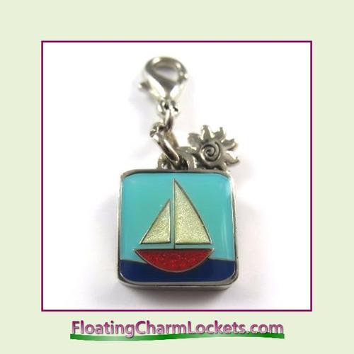 Mini Clip-On Charm:  Sail Boat 11x11mm