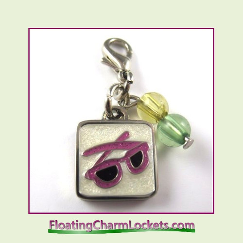 Mini Clip-On Charm:  Pink Sunglasses 11x11mm
