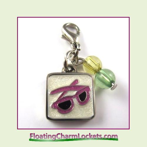 Mini Clip-On Charm:  Pink Sunglasses 11x11mm