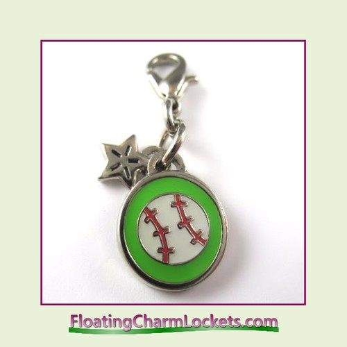 Mini Clip-On Charm:  Baseball 10x10mm