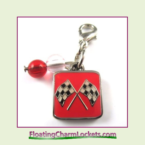 Mini Clip-On Charm:  Race Flags 11x11mm