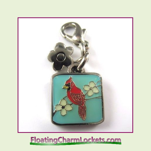 Mini Clip-On Charm:  Cardinal Bird 11x11mm