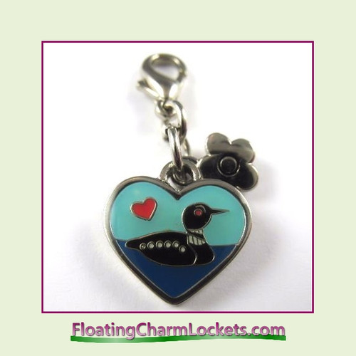 Mini Clip-On Charm:  Loon Duck 14x12mm