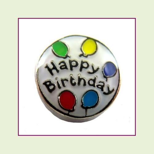 Happy Birthday White Round (Silver Base) Floating Charm