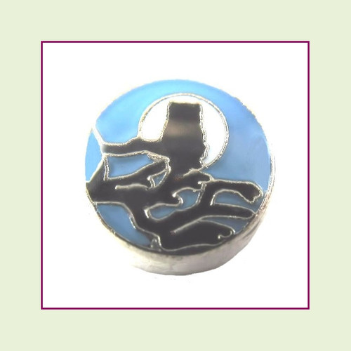 Owl on Blue Round (Silver Base) Floating Charm