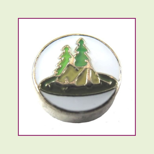 Camping Tent on White Round (Silver Base) Floating Charm