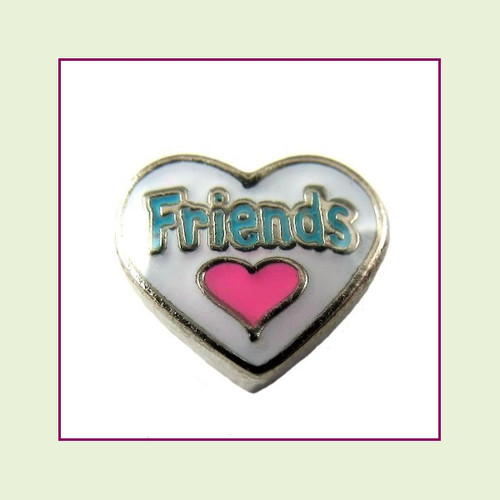 Friends White Heart (Silver Base) Floating Charm
