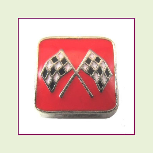 Race Flags on Red Square (Silver Base) Floating Charm
