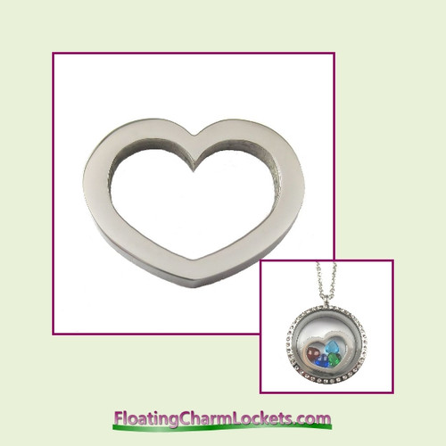 SS502 - Silver Stainless Steel Heart Insert for Large Round Locket