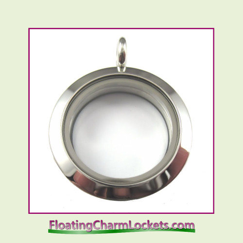 Plain Silver 25mm Medium Round Stainless Steel Floating Charm Locket