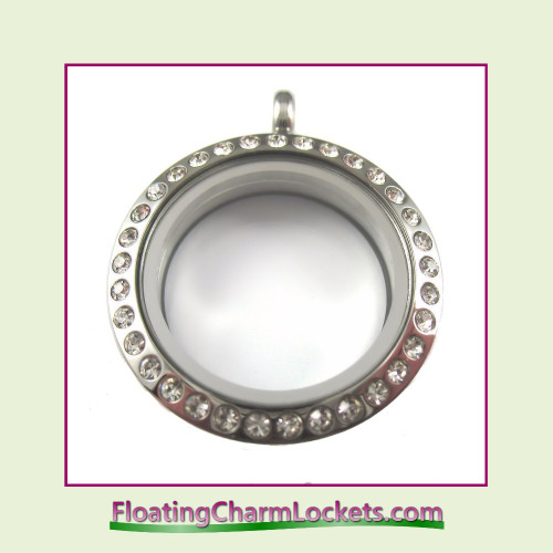 CZ Silver 25mm Medium Round Stainless Steel Floating Charm Locket