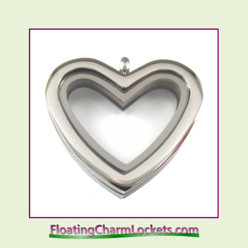 Plain Silver Regular Heart Stainless Steel Floating Charm Locket