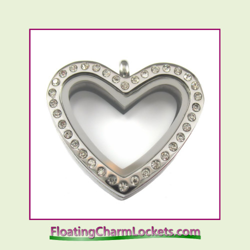 CZ Silver Regular Heart Stainless Steel Floating Charm Locket