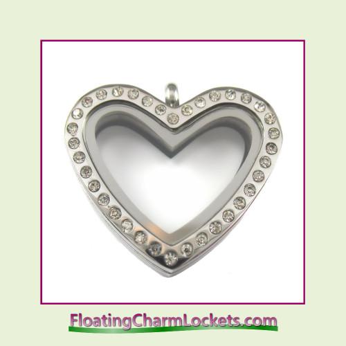 CZ Silver Regular Heart Stainless Steel Floating Charm Locket