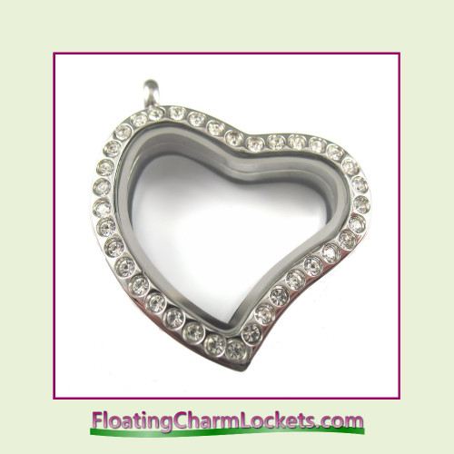 CZ Silver Curved Heart Stainless Steel Floating Charm Locket