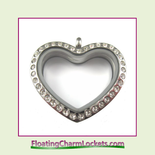 CZ Silver Rounded Heart Stainless Steel Floating Charm Locket