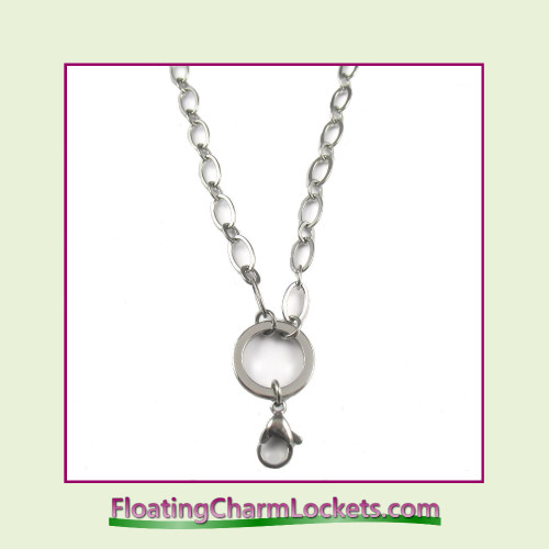 """SS579 - Large Oval Loop 28"""" Silver Stainless Steel Chain (5mm)"""