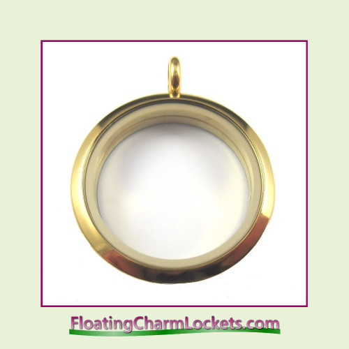 Plain Gold 30mm Large Round Stainless Steel Floating Charm Locket
