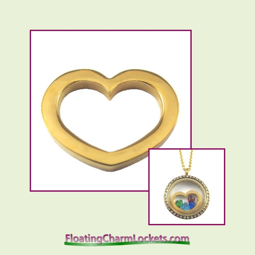 SS602 - Gold Stainless Steel Heart Insert for Large Round Locket