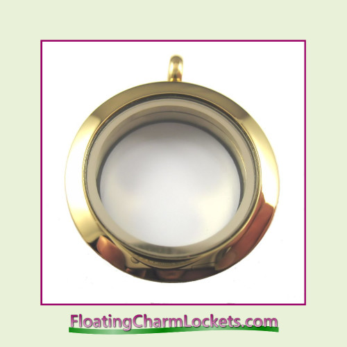 Plain Gold 25mm Medium Round Stainless Steel Floating Charm Locket