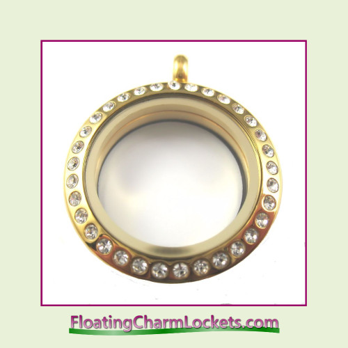 CZ Gold 25mm Medium Round Stainless Steel Floating Charm Locket