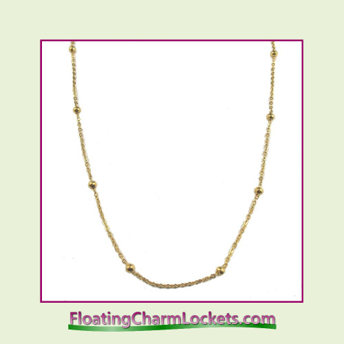 "SS671 - 20"" Gold Stainless Steel Ball Station Chain"