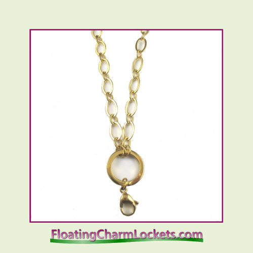 """SS678 - Large Oval Loop 24"""" Gold Stainless Steel Chain (5mm)"""