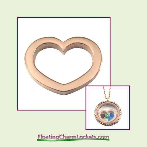 SS702 - Rose Stainless Steel Heart Insert for Large Round Locket