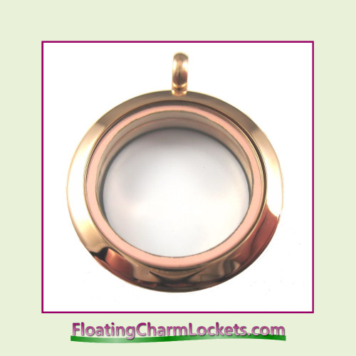 Plain Rose 25mm Medium Round Stainless Steel Floating Charm Locket