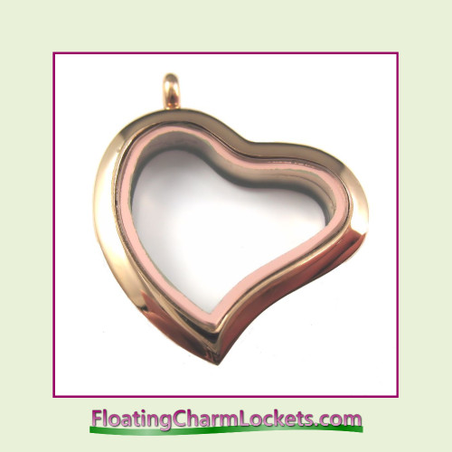 Plain Rose Curved Heart Stainless Steel Floating Charm Locket