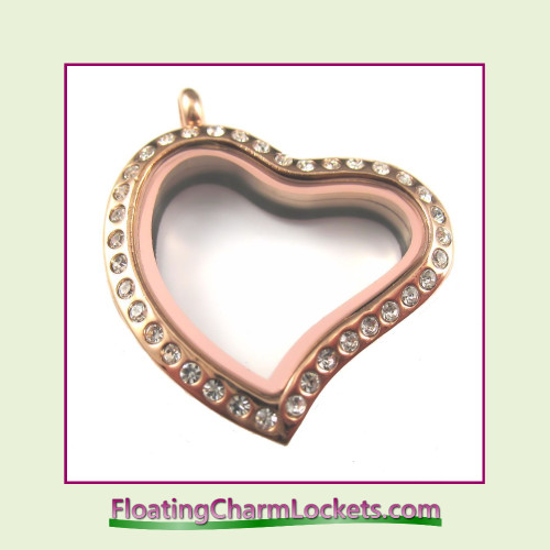 CZ Rose Curved Heart Stainless Steel Floating Charm Locket