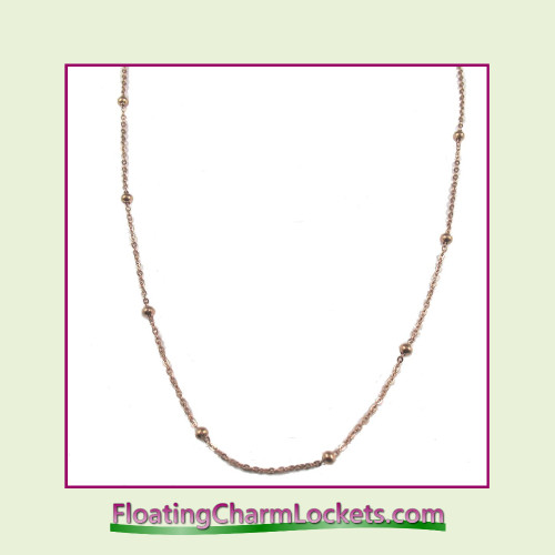 """SS771 - 20"""" Rose Stainless Steel Ball Station Chain"""