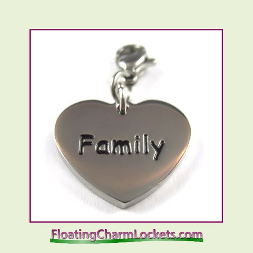 Stainless Steel Clip-On Charm:  Family Heart (Silver) 18x15mm