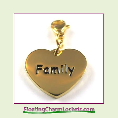 Stainless Steel Clip-On Charm:  Family Heart (Gold) 18x15mm