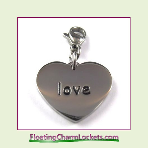Stainless Steel Clip-On Charm:  Love Heart (Silver) 18x15mm