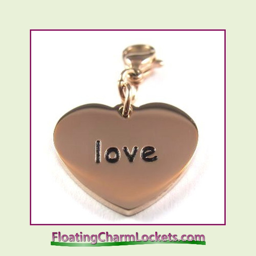 Stainless Steel Clip-On Charm:  Love Heart (Rose) 18x15mm