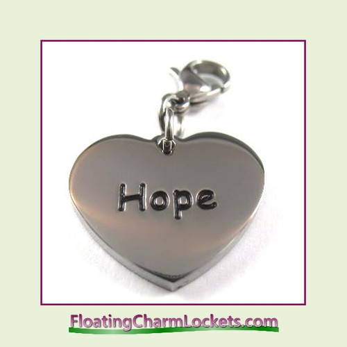 Stainless Steel Clip-On Charm:  Hope Heart (Silver) 18x15mm